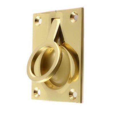 Frelan Flush Ring Pull 50mm x 63mm Polished Brass
