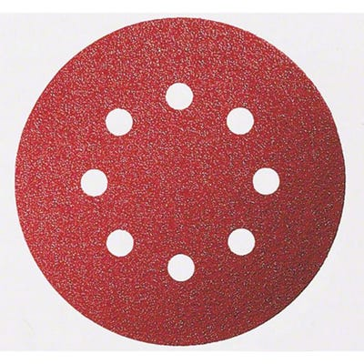 Bosch Sanding Sheet For Wood Velcro 125mm 8 Hole G120 Pack of 5