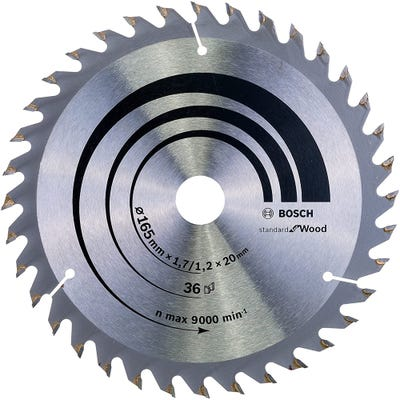 Bosch Circular Saw Blade Optiline Wood 165 x 1.7 x 20mm 36T