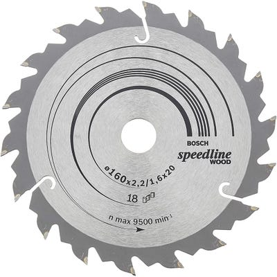Bosch Circular Saw Blade Speedline Wood 160 x 2.4 x 20mm 18T