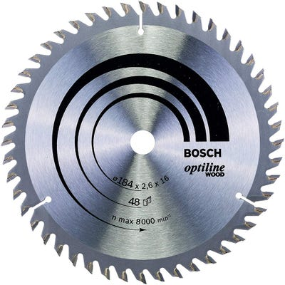 Bosch Circular Saw Blade Optiline Wood 184 x 2.6 x 16mm 48T