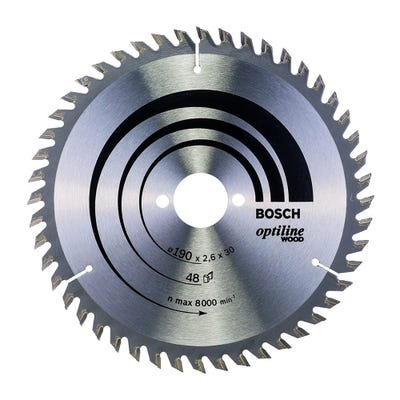 Bosch Circular Saw Blade Optiline Wood 190 x 2.6 x 30mm 48T