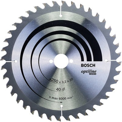 Bosch Circular Saw Blade Optiline Wood 250 x 3.2 x 30mm 40T