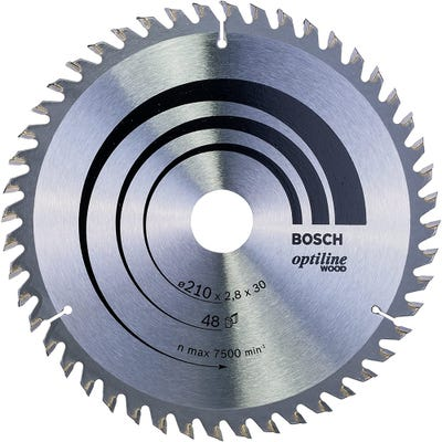 Bosch Circular Saw Blade Optiline Wood 210 x 2.8 x 30mm 48T