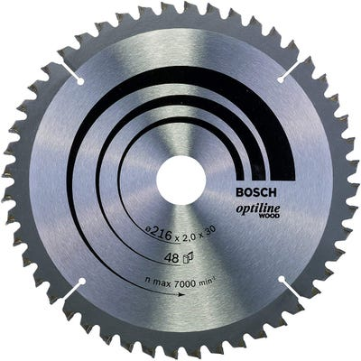 Bosch Circular Saw Blade Optiline Wood 216 x 2.0 x 30mm 48T