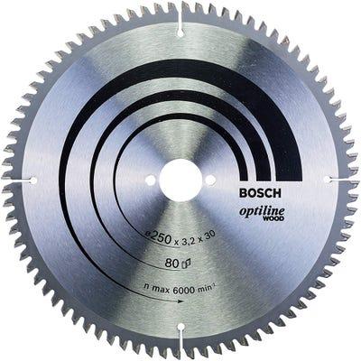 Bosch Circular Saw Blade Optiline Wood 250 x 3.2 x 30mm 80T