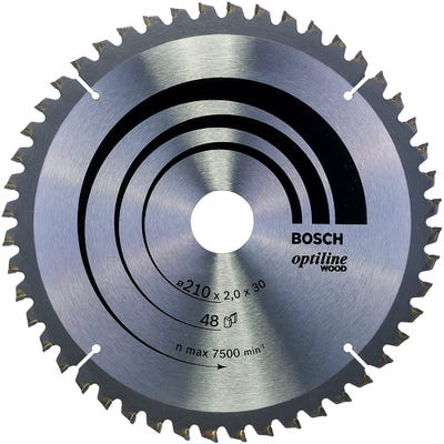 Bosch Circular Saw Blade Optiline Wood 210 x 2.0 x 30mm 48T
