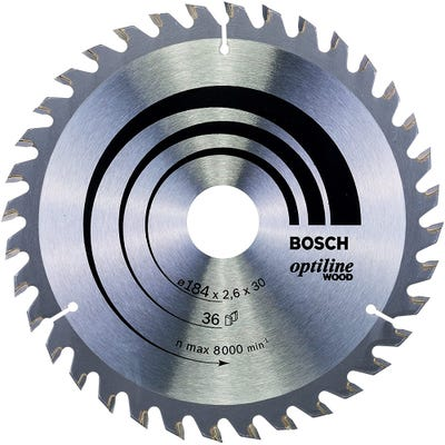 Bosch Circular Saw Blade Optiline Wood 184 x 2.6 x 30mm 36T