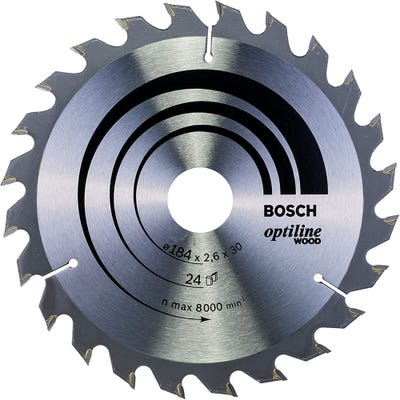 Bosch Circular Saw Blade Optiline Wood 184 x 2.6 x 30mm 24T
