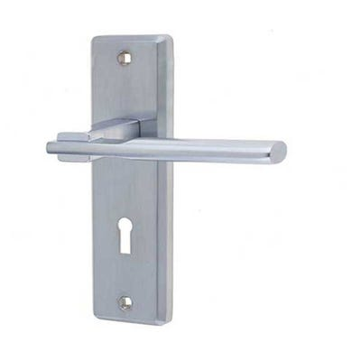 Frelan Delta Door Handle in Satin Chrome
