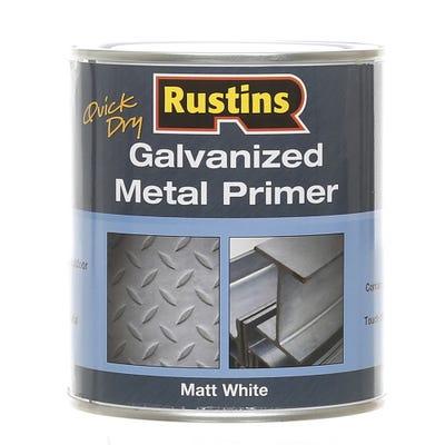 Rustins Quick Dry Galvanised Metal Primer Matt White 500ml