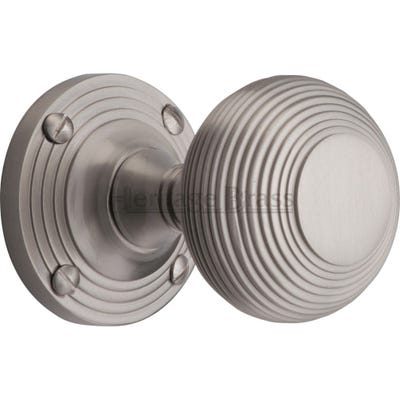 Heritage Brass Reeded Mortice Knob Satin Nickel