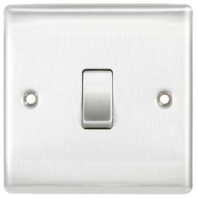 BG Nexus 10A 1 Gang 2 Way Light Switch Brushed Steel NBS12-01
