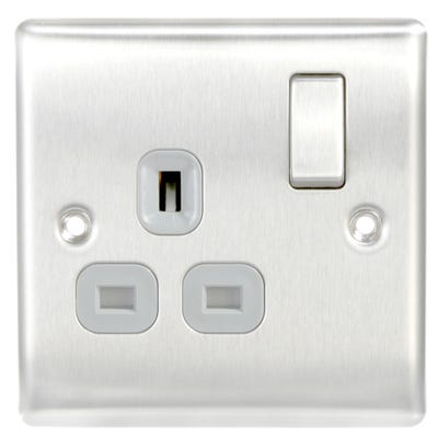 BG Nexus 13A 1 Gang Double Pole Socket Outlet Brushed Steel with Grey Insert NBS21G-01