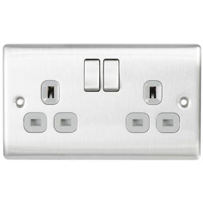 BG Nexus 13A 2 Gang Double Pole Socket Outlet Brushed Steel with Grey Insert NBS22G-01