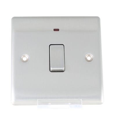 BG Nexus 20A Double Pole Switch with Neon Brushed Steel NBS31-01
