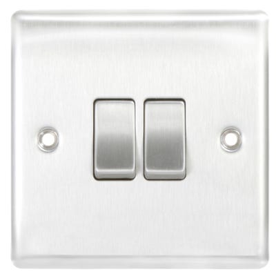 BG Nexus 10A 10AX 2 Gang 2 Way Light Switch Brushed Steel NBS42-01