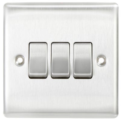 BG Nexus 10A 10AX 3 Gang 2 Way Light Switch Brushed Steel NBS43-01