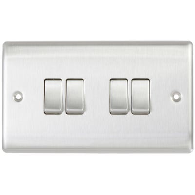 BG Nexus 10A 10AX 4 Gang 2 Way Light Switch Brushed Steel NBS44-01