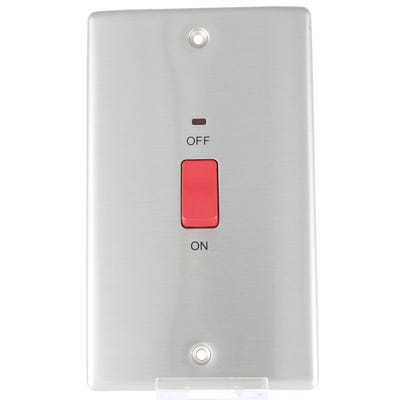 BG Nexus 45A Double Pole Switch Large Plate with Neon Brushed Steel NBS72-01