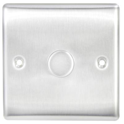 BG Nexus 400W 1 Gang 2 Way Dimmer Light Switch Push Brushed Steel NBS81-01