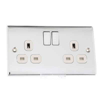 BG Nexus 13A 2 Gang Double Pole Switched Socket Outlet Polished Chrome with Insert NPC22W-01