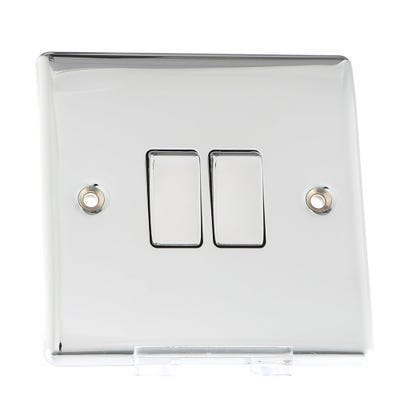 BG Nexus 10A 10AX 2 Gang 2 Way Light Switch Polished Chrome NPC42-01