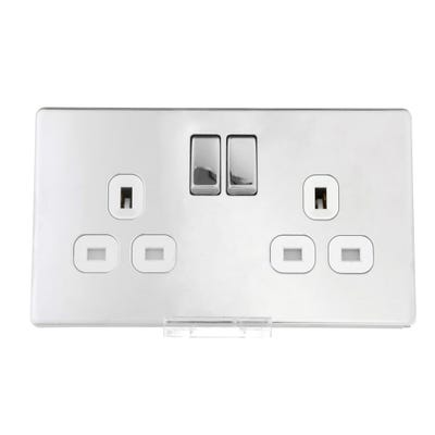 BG Nexus Screwless Flatplate 13A 2 Gang Double Pole Switched Socket Polished Chrome FPC22W-01