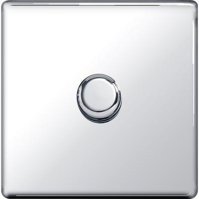 BG Nexus Screwless Flatplate 1 Gang 2 Way 400W Push Dimmer Polished Chrome FPC81P-01