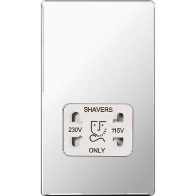 BG Nexus Screwless Flatplate 115V/230V Dual Voltage Shaver Socket Polished Chrome FPC20W-01