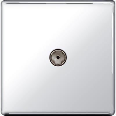 BG Nexus Screwless Flatplate 1 Gang Co-Axial TV Socket Polished Chrome FPC60-01