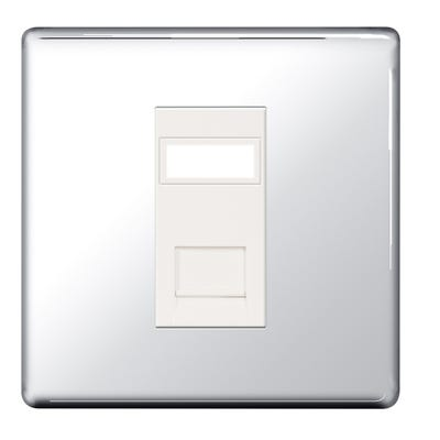 BG Nexus Screwless Flatplate 1 Gang RJ45 Data Outlet Socket Polished Chrome FPCRJ451-01