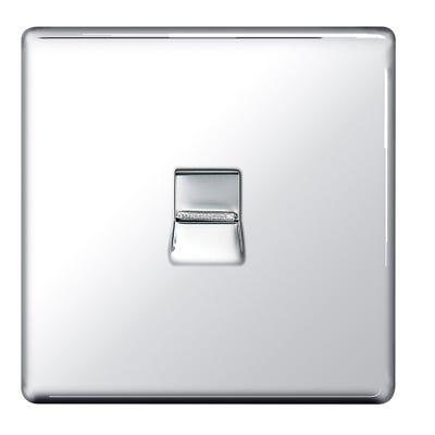 BG Nexus Screwless Flatplate Telephone Socket Master Polished Chrome FPCBTM1-01