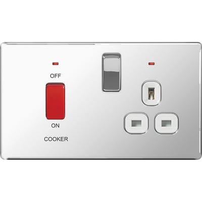 BG Nexus Screwless Flatplate 45A Double Pole Cooker Switched Socket with Neon Polished Chrome with White Insert FPC70W-01