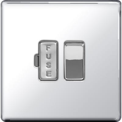 BG Nexus Screwless Flatplate 13A Switched Fused Connection Unit Polished Chrome FPC50-01