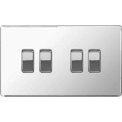 BG Nexus Screwless Flatplate 10A 10AX 4 Gang 2 Way Light Switch Polished Chrome FPC44-01