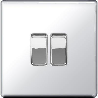 BG Nexus Screwless Flatplate 10A 10AX 2 Gang 2 Way Light Switch Polished Chrome FPC42-01