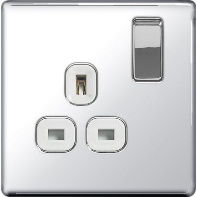 BG Nexus Screwless Flatplate 13A 1 Gang Switched Socket Polished Chrome with White Insert FPC21W-01