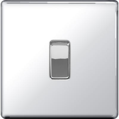 BG Nexus Screwless Flatplate 10A 1 Gang 2 Way Light Switch Polished Chrome FPC12-01