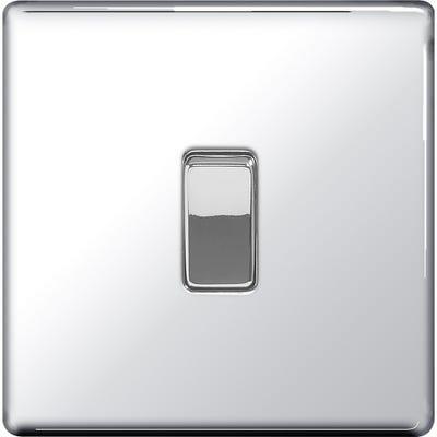 BG Nexus Screwless Flatplate 10A 1 Gang 2 Way Light Switch Polished Chrome FPC12-01