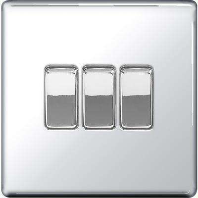 BG Nexus Screwless Flatplate 10A 10AX 3 Gang 2 Way Light Switch Polished Chrome FPC43-01