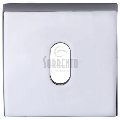 Sorrento Square Escutcheon Keyhole Polished Chrome (Each)
