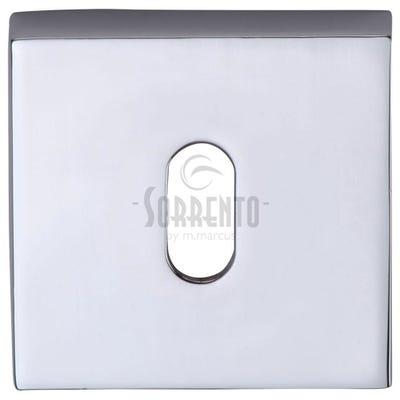 Sorrento Square Escutcheon Keyhole Polished Chrome (Each)