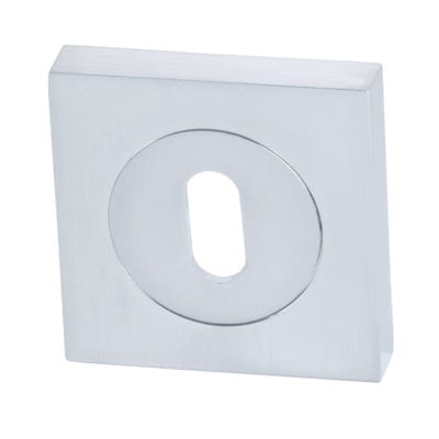 Sorrento Square Escutcheon Keyhole Satin Chrome (Each)