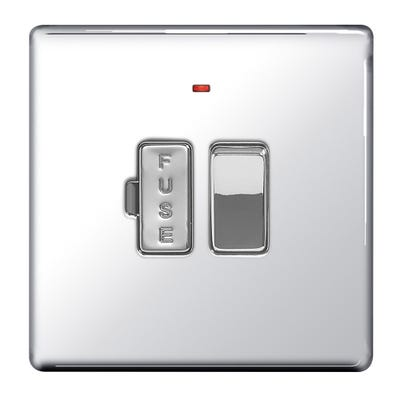 BG Nexus Screwless Flatplate 13A Switched Fused Connection Unit with Neon Polished Chrome FPC52-01