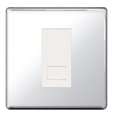 BG Nexus Screwless Flatplate 1 Gang RJ11 Telephone Outlet Socket Polished Chrome FPCRJ111-01