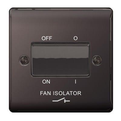 BG Nexus 10A 10AX Triple Pole Fan Isolator Plate Switch Black Nickel NBN15-01