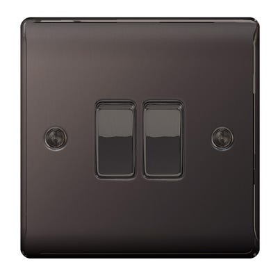 BG Nexus 10A 10AX 2 Gang 2 Way Light Switch Black Nickel NBN42-01