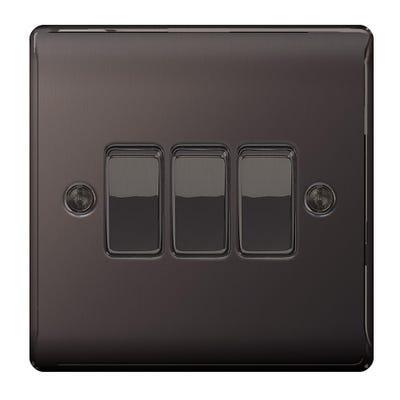BG Nexus 10A 10AX 3 Gang 2 Way Light Switch Black Nickel NBN43-01