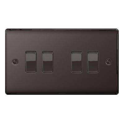 BG Nexus 10A 10AX 4 Gang 2 Way Light Switch Black Nickel NBN44-01